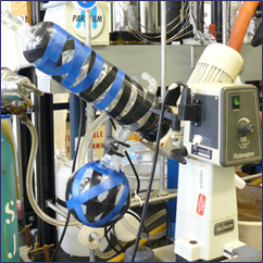 Rotary-evaporator taped to prevent implosion hazard